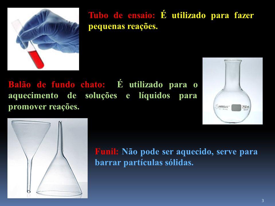 Tubo de ensaio: É utilizado para fazer pequenas reações.