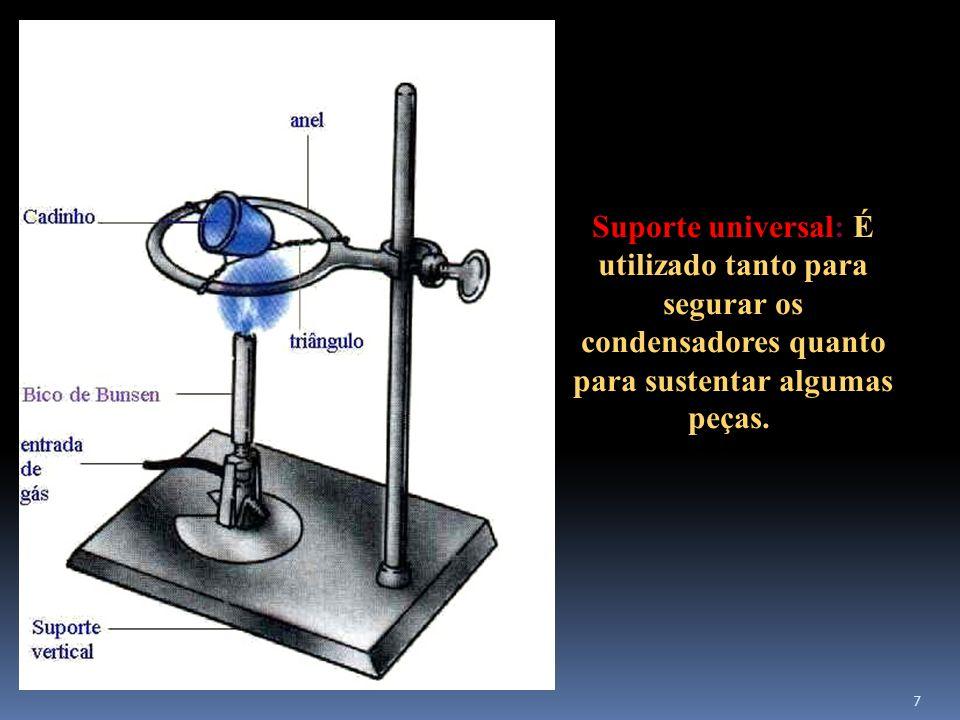 Suporte universal: É utilizado tanto para segurar os condensadores quanto para sustentar algumas peças.