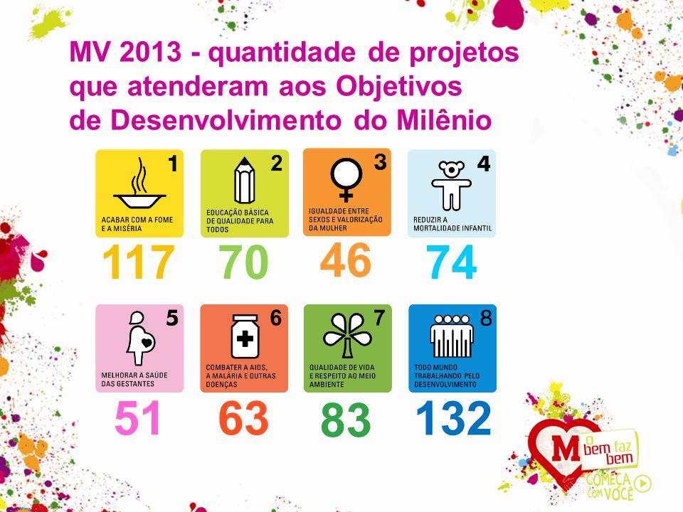 MV 2013 - quantidade de projetos que atenderam aos Objetivos de Desenvolvimento do Milênio 11770 46 74 5163 83 132