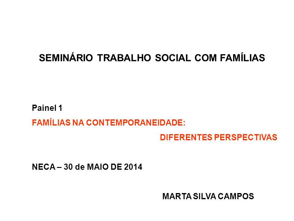 SEMINÁRIO TRABALHO SOCIAL COM FAMÍLIAS Painel 1 FAMÍLIAS NA CONTEMPORANEIDADE: DIFERENTES PERSPECTIVAS NECA – 30 de MAIO DE 2014 MARTA SILVA CAMPOS