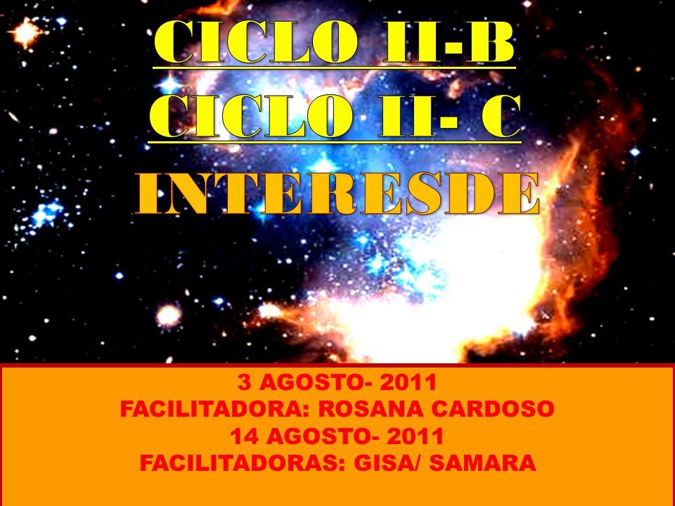 3 AGOSTO- 2011 FACILITADORA: ROSANA CARDOSO 14 AGOSTO- 2011 FACILITADORAS: GISA/ SAMARA