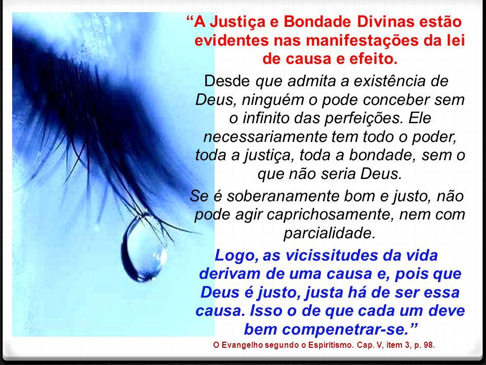 """""""A Justiça e Bondade Divinas estão evidentes nas manifestações da lei de causa e efeito. Desde que admita a existência de Deus, ninguém o pode concebe"""