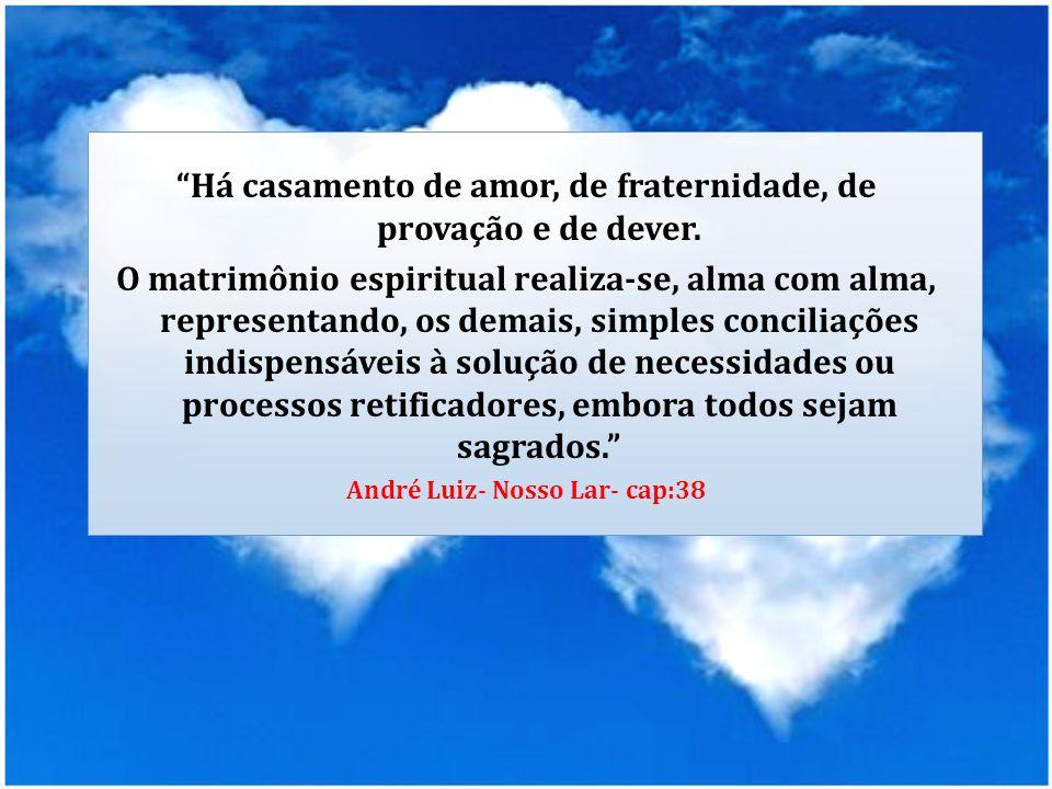 """""""Há casamento de amor, de fraternidade, de provação e de dever. O matrimônio espiritual realiza-se, alma com alma, representando, os demais, simples c"""