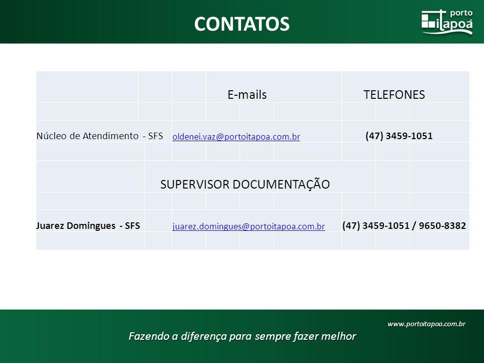 CONTATOS Fazendo a diferença para sempre fazer melhor www.portoitapoa.com.br E-mails TELEFONES Núcleo de Atendimento - SFS oldenei.vaz@portoitapoa.com.br (47) 3459-1051 SUPERVISOR DOCUMENTAÇÃO Juarez Domingues - SFS juarez.domingues@portoitapoa.com.br (47) 3459-1051 / 9650-8382