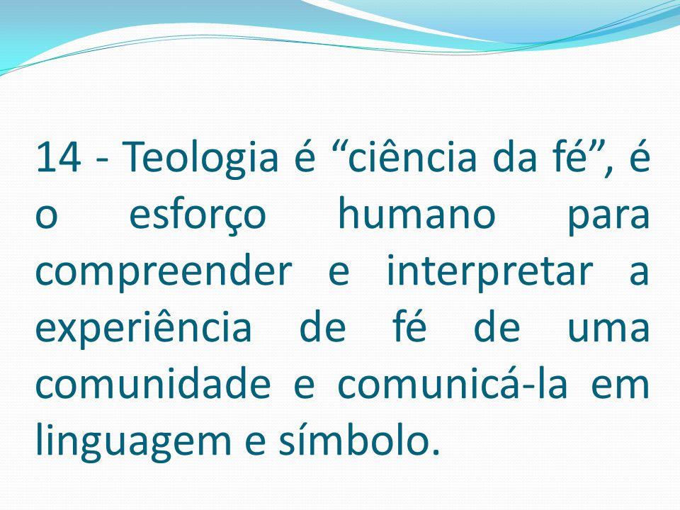 """14 - Teologia é """"ciência da fé"""", é o esforço humano para compreender e interpretar a experiência de fé de uma comunidade e comunicá-la em linguagem e"""