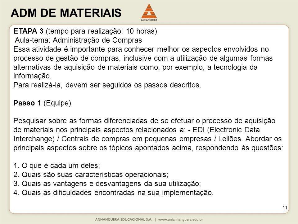 ADM DE MATERIAIS 11 ETAPA 3 (tempo para realização: 10 horas) Aula-tema: Administração de Compras Essa atividade é importante para conhecer melhor os