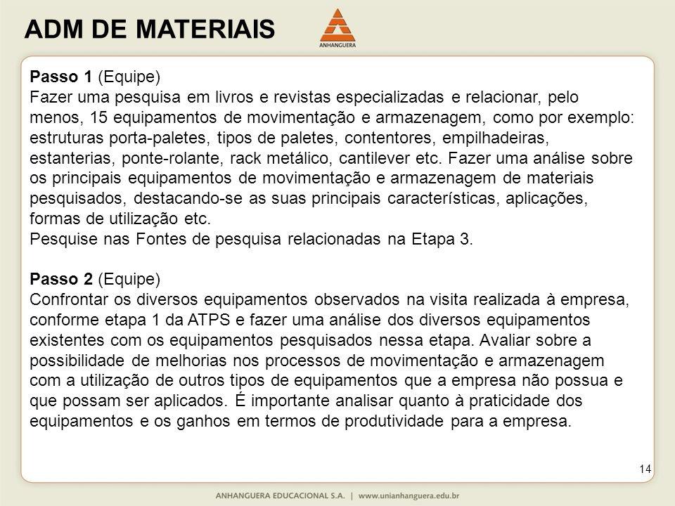 ADM DE MATERIAIS 14 Passo 1 (Equipe) Fazer uma pesquisa em livros e revistas especializadas e relacionar, pelo menos, 15 equipamentos de movimentação