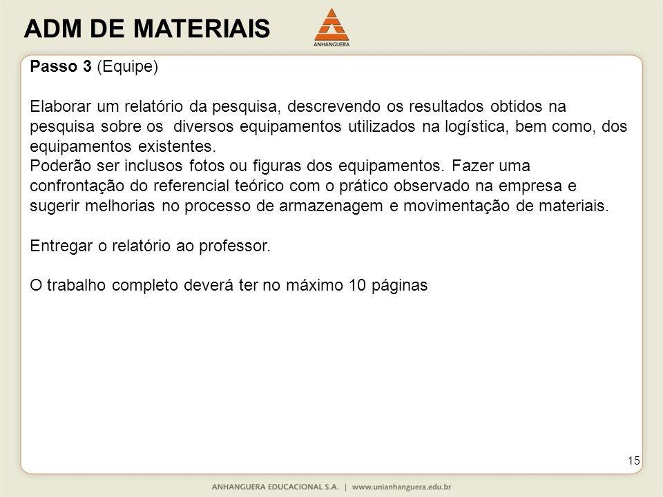 ADM DE MATERIAIS 15 Passo 3 (Equipe) Elaborar um relatório da pesquisa, descrevendo os resultados obtidos na pesquisa sobre os diversos equipamentos utilizados na logística, bem como, dos equipamentos existentes.