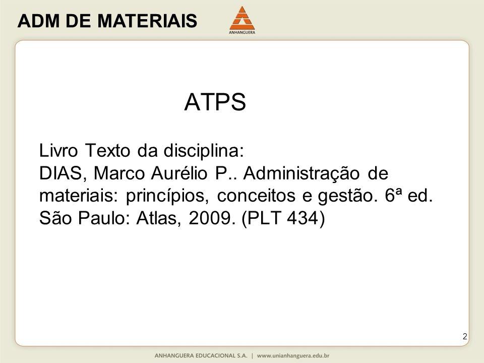 2 ATPS Livro Texto da disciplina: DIAS, Marco Aurélio P.. Administração de materiais: princípios, conceitos e gestão. 6ª ed. São Paulo: Atlas, 2009. (