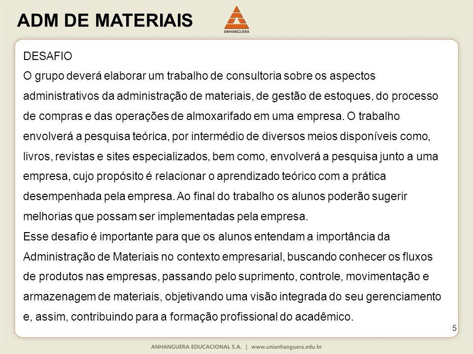 ADM DE MATERIAIS 5 DESAFIO O grupo deverá elaborar um trabalho de consultoria sobre os aspectos administrativos da administração de materiais, de gestão de estoques, do processo de compras e das operações de almoxarifado em uma empresa.
