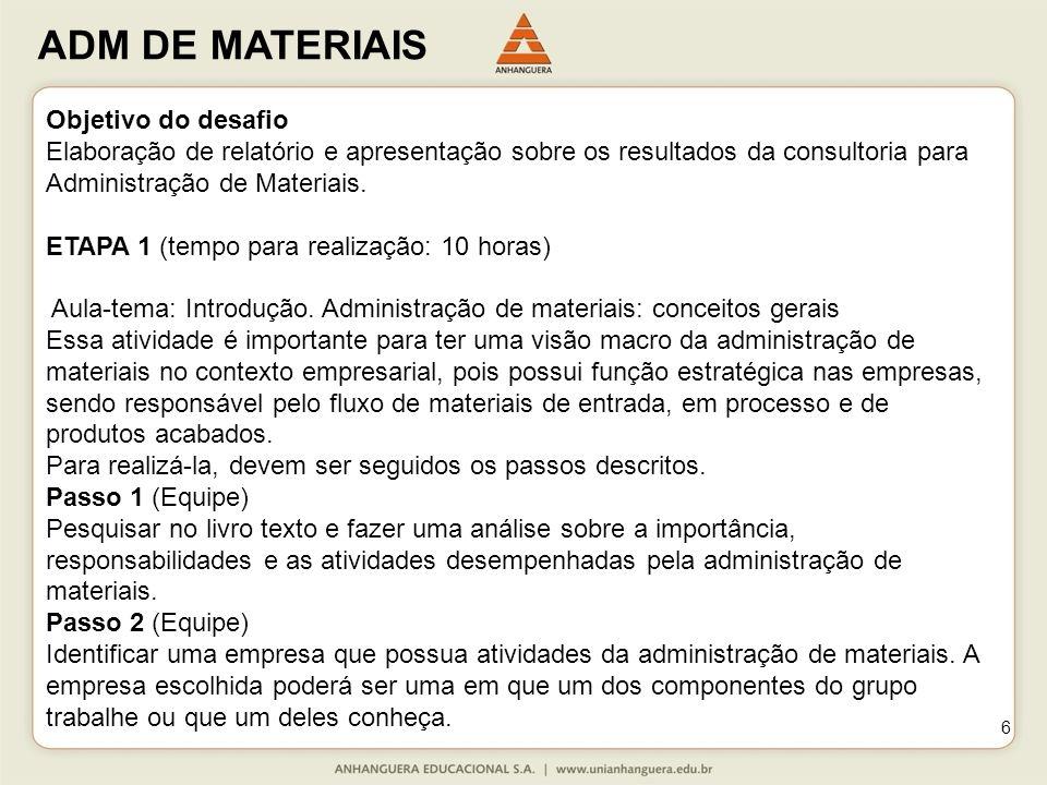 ADM DE MATERIAIS 6 Objetivo do desafio Elaboração de relatório e apresentação sobre os resultados da consultoria para Administração de Materiais.