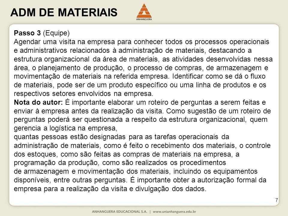 ADM DE MATERIAIS 7 Passo 3 (Equipe) Agendar uma visita na empresa para conhecer todos os processos operacionais e administrativos relacionados à admin