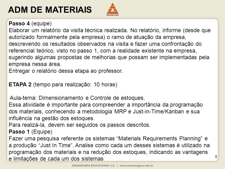 ADM DE MATERIAIS 8 Passo 4 (equipe) Elaborar um relatório da visita técnica realizada. No relatório, informe (desde que autorizado formalmente pela em