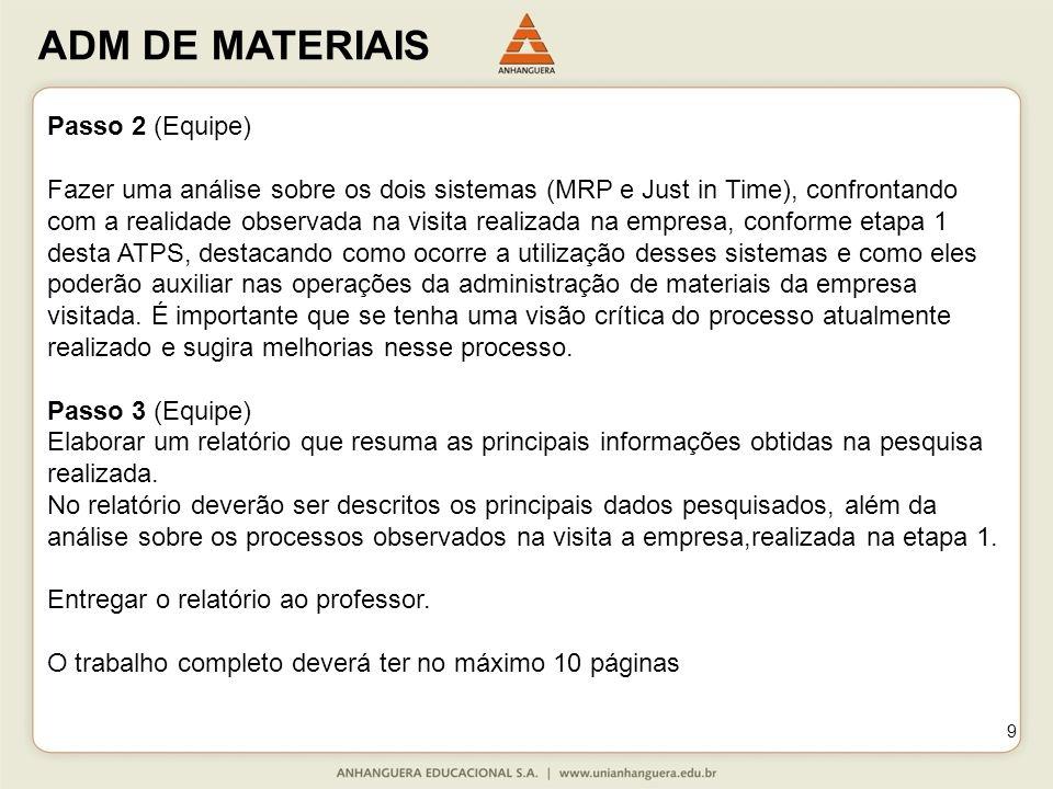ADM DE MATERIAIS 9 Passo 2 (Equipe) Fazer uma análise sobre os dois sistemas (MRP e Just in Time), confrontando com a realidade observada na visita re