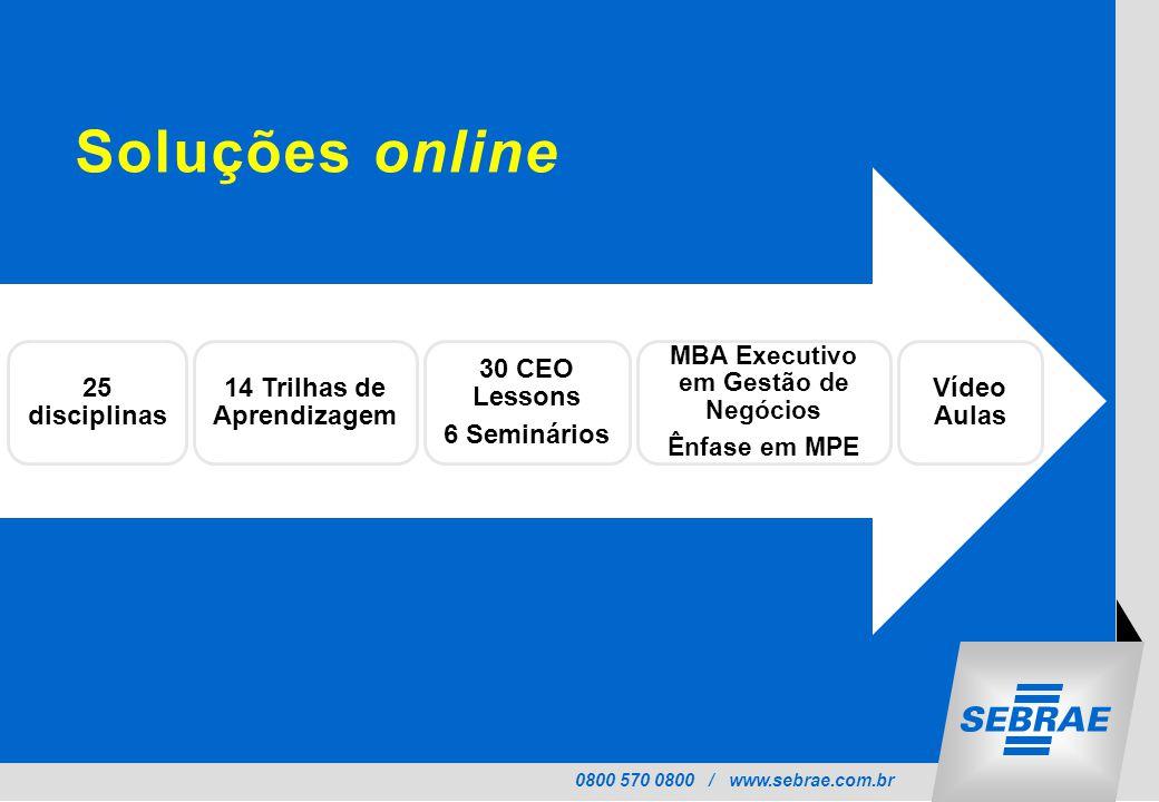 0800 570 0800 / www.sebrae.com.br Soluções online 25 disciplinas 14 Trilhas de Aprendizagem 30 CEO Lessons 6 Seminários MBA Executivo em Gestão de Negócios Ênfase em MPE Vídeo Aulas