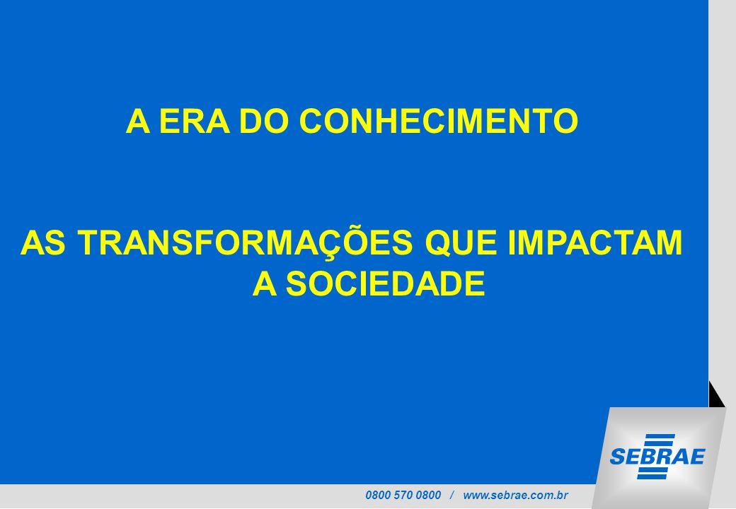 0800 570 0800 / www.sebrae.com.br A ERA DO CONHECIMENTO AS TRANSFORMAÇÕES QUE IMPACTAM A SOCIEDADE