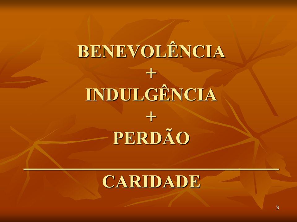 3 BENEVOLÊNCIA + INDULGÊNCIA + PERDÃO ____________________________ CARIDADE