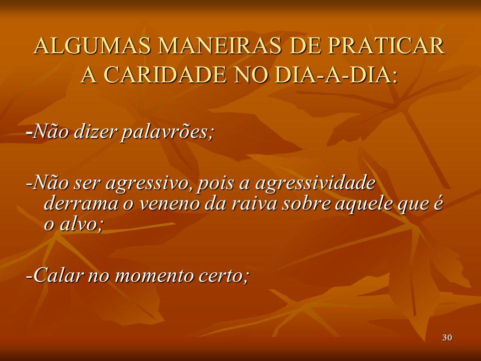 30 ALGUMAS MANEIRAS DE PRATICAR A CARIDADE NO DIA-A-DIA: -Não dizer palavrões; -Não ser agressivo, pois a agressividade derrama o veneno da raiva sobr