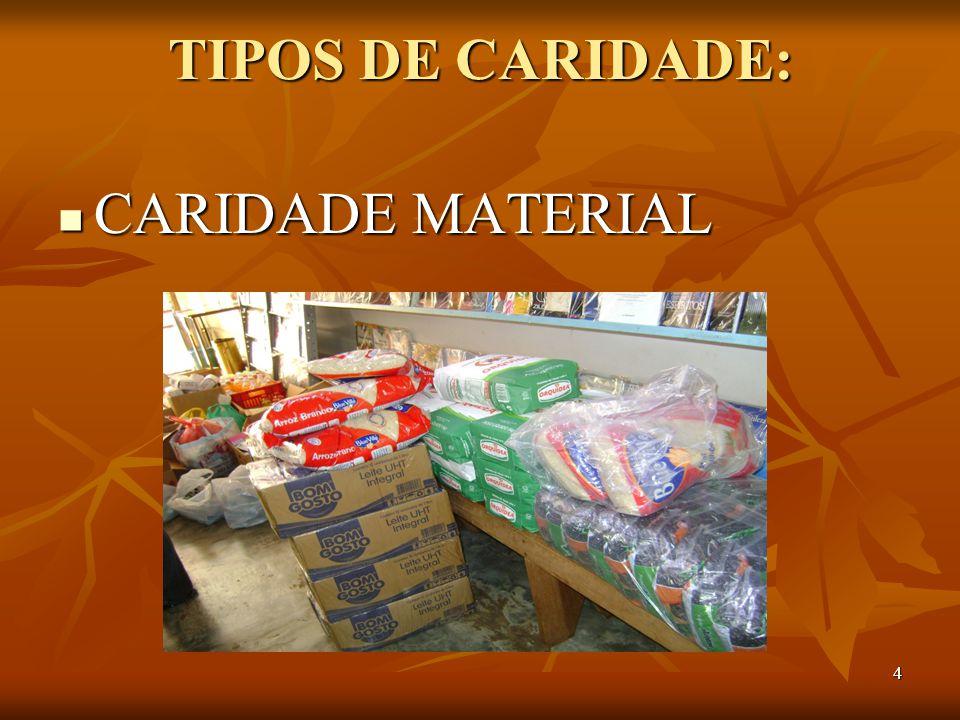 4 TIPOS DE CARIDADE: CARIDADE MATERIAL CARIDADE MATERIAL
