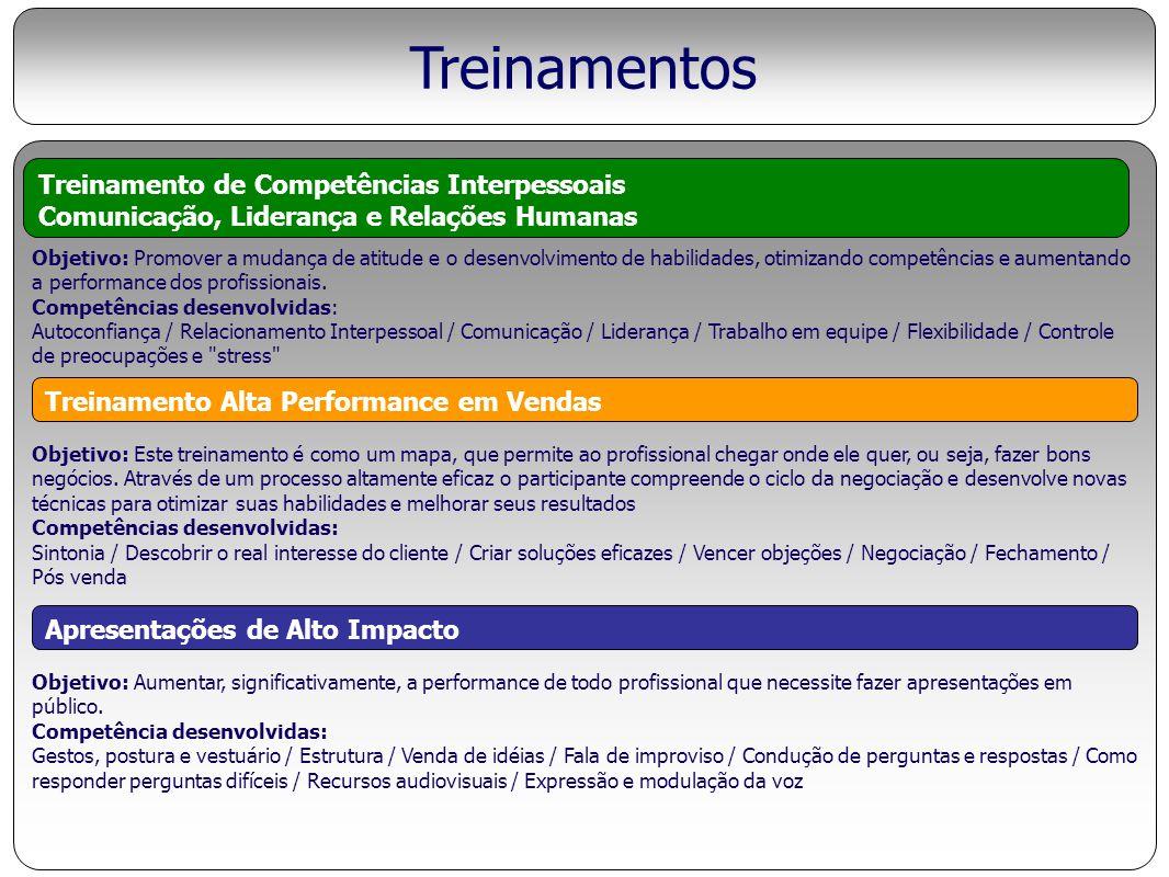 Treinamentos Objetivo: Promover a mudança de atitude e o desenvolvimento de habilidades, otimizando competências e aumentando a performance dos profis
