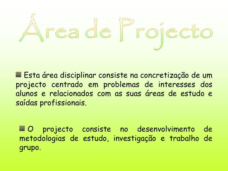 Esta área disciplinar consiste na concretização de um projecto centrado em problemas de interesses dos alunos e relacionados com as suas áreas de estudo e saídas profissionais.