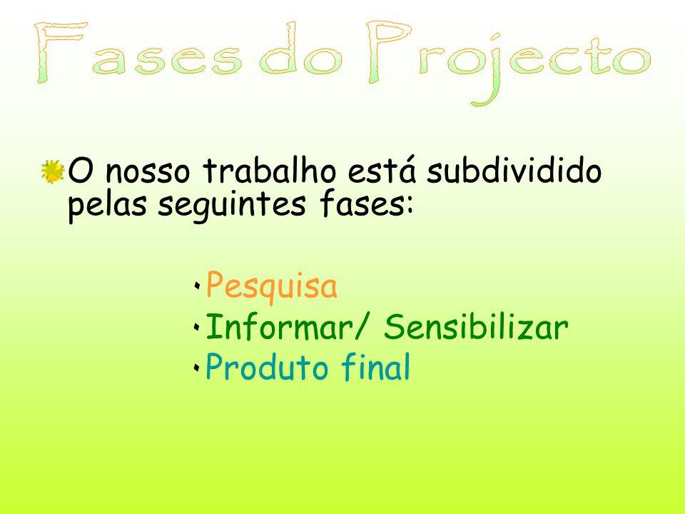 O nosso trabalho está subdividido pelas seguintes fases: ۰ Pesquisa ۰ Informar/ Sensibilizar ۰ Produto final
