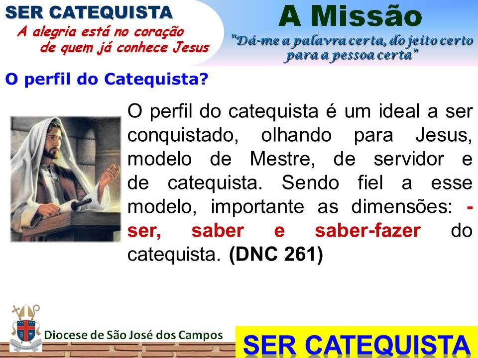 O perfil do Catequista? O perfil do catequista é um ideal a ser conquistado, olhando para Jesus, modelo de Mestre, de servidor e de catequista. Sendo