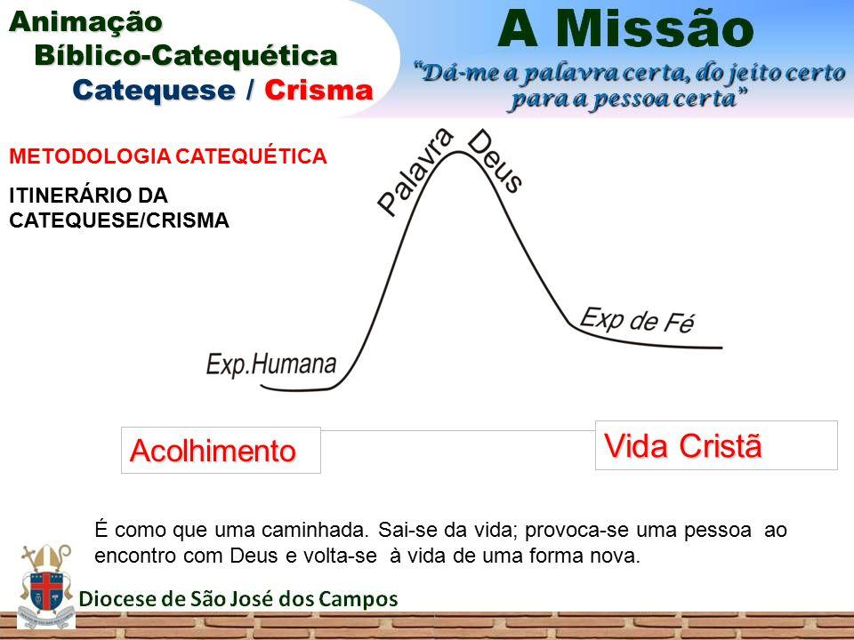 Acolhimento Vida Cristã METODOLOGIA CATEQUÉTICA ITINERÁRIO DA CATEQUESE/CRISMA É como que uma caminhada. Sai-se da vida; provoca-se uma pessoa ao enco