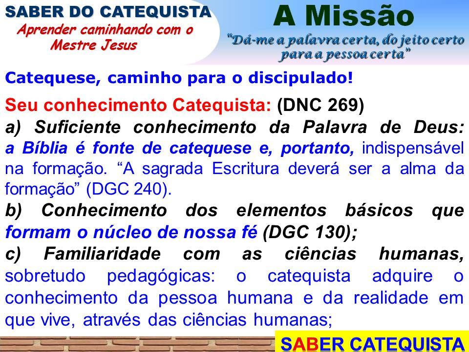 Catequese, caminho para o discipulado! Seu conhecimento Catequista: (DNC 269) a) Suficiente conhecimento da Palavra de Deus: a Bíblia é fonte de cateq