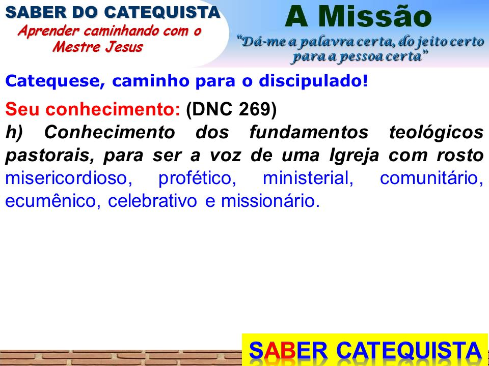 Catequese, caminho para o discipulado! Seu conhecimento: (DNC 269) h) Conhecimento dos fundamentos teológicos pastorais, para ser a voz de uma Igreja