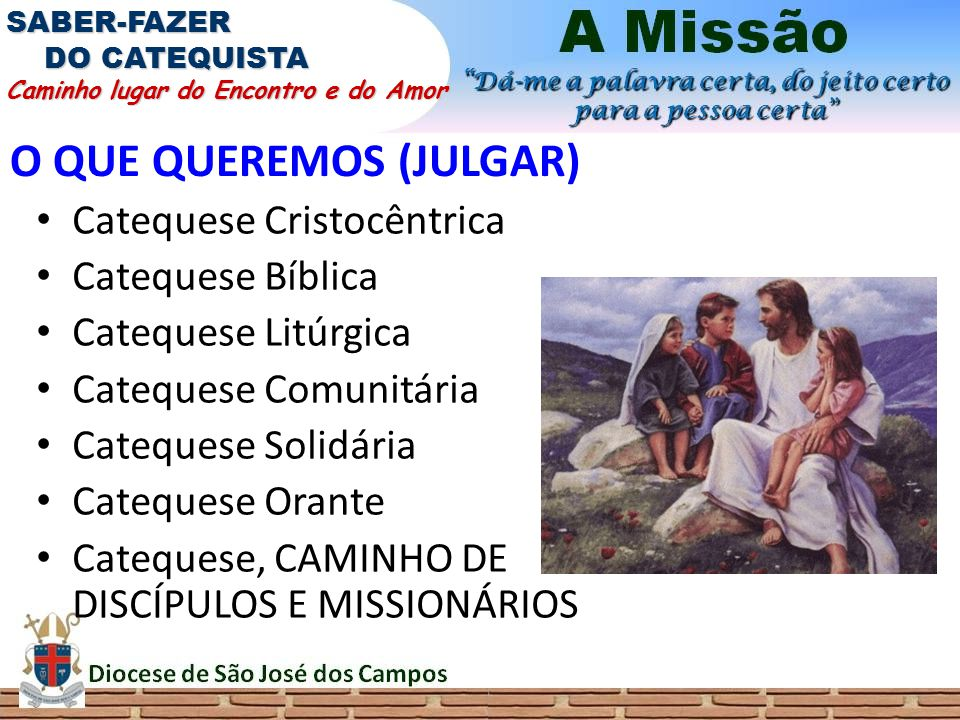 O QUE QUEREMOS (JULGAR) Catequese Cristocêntrica Catequese Bíblica Catequese Litúrgica Catequese Comunitária Catequese Solidária Catequese Orante Cate
