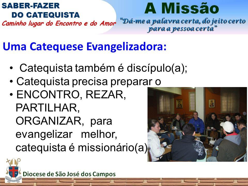 Uma Catequese Evangelizadora: SABER-FAZER DO CATEQUISTA Caminho lugar do Encontro e do Amor Catequista também é discípulo(a); Catequista precisa prepa