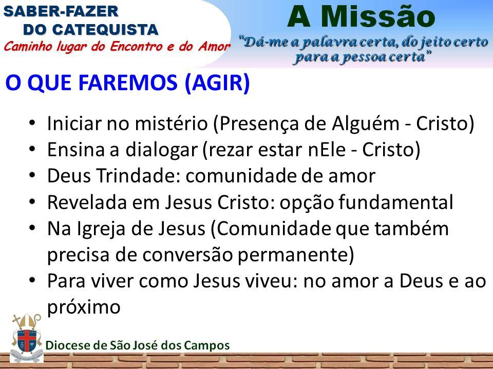 O QUE FAREMOS (AGIR) Iniciar no mistério (Presença de Alguém - Cristo) Ensina a dialogar (rezar estar nEle - Cristo) Deus Trindade: comunidade de amor