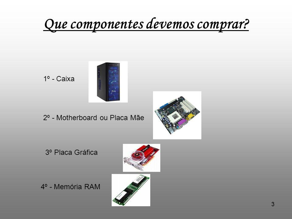 3 Que componentes devemos comprar? 1º - Caixa 2º - Motherboard ou Placa Mãe 3º Placa Gráfica 4º - Memória RAM