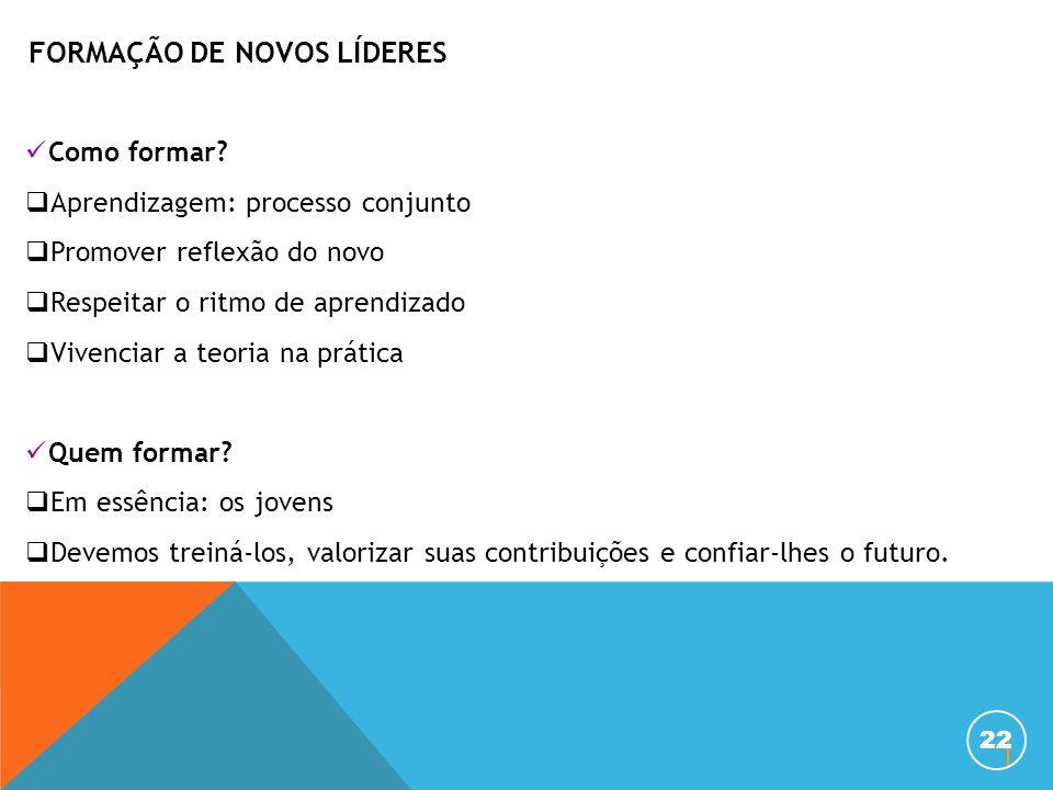 22 Como formar?  Aprendizagem: processo conjunto  Promover reflexão do novo  Respeitar o ritmo de aprendizado  Vivenciar a teoria na prática Quem