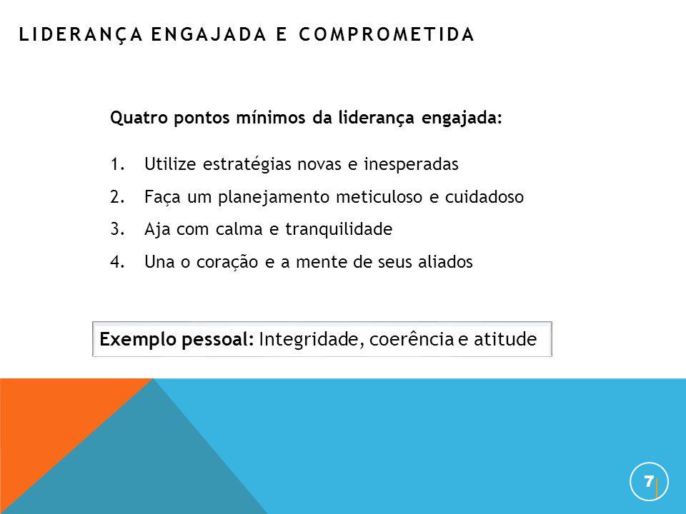 7 Quatro pontos mínimos da liderança engajada: 1.Utilize estratégias novas e inesperadas 2.Faça um planejamento meticuloso e cuidadoso 3.Aja com calma