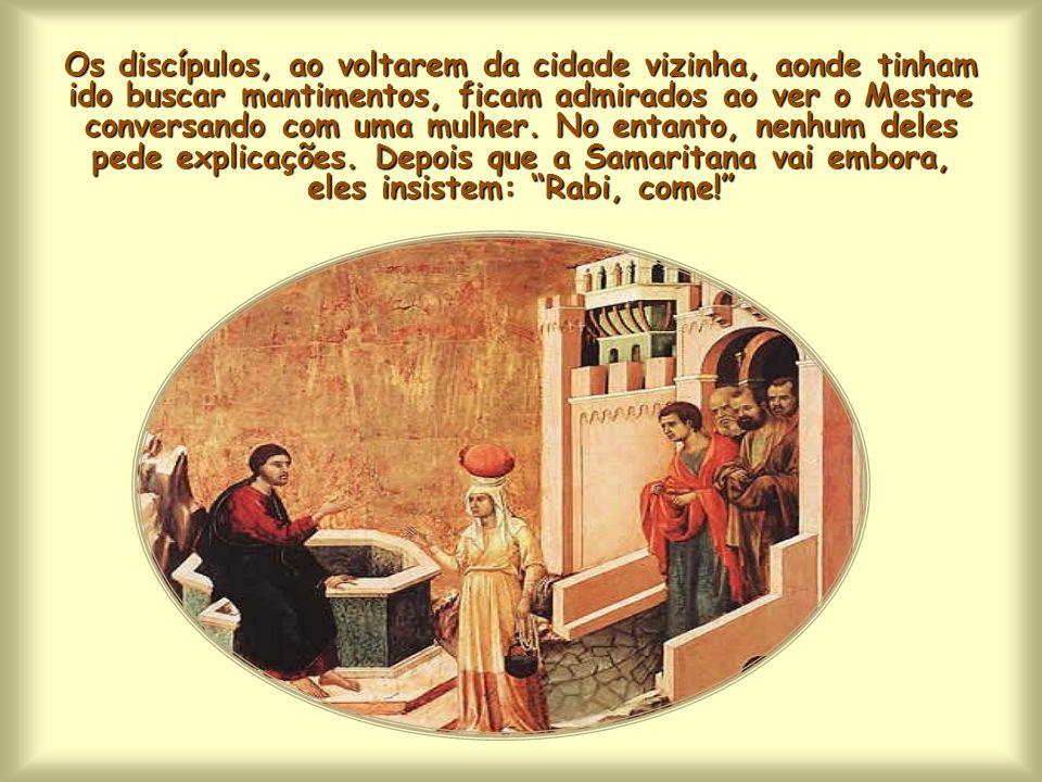 Sentado junto da fonte de Jacó, na Samaria, Jesus está para concluir o seu diálogo com a Samaritana.