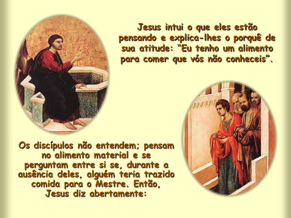 Os discípulos, ao voltarem da cidade vizinha, aonde tinham ido buscar mantimentos, ficam admirados ao ver o Mestre conversando com uma mulher. No enta