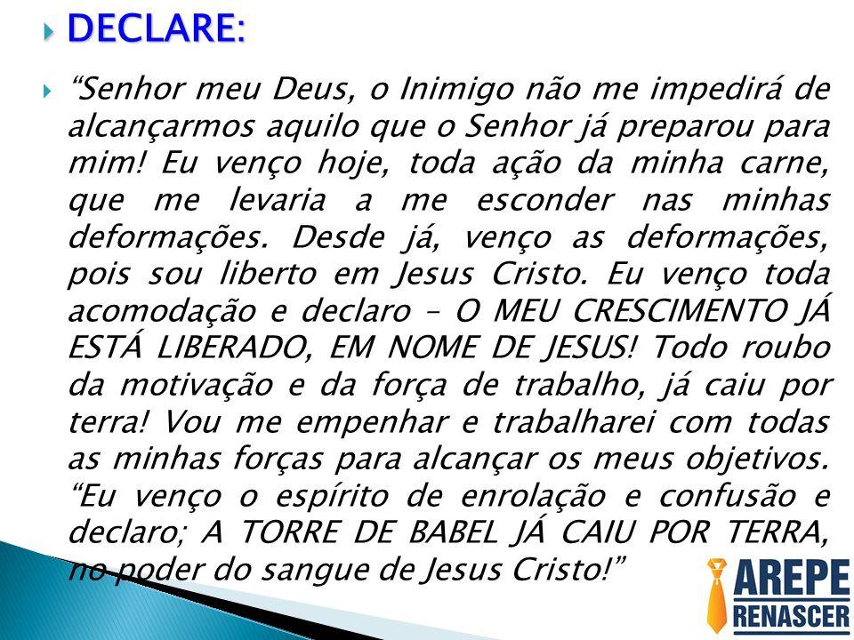 """ DECLARE:  """"Senhor meu Deus, o Inimigo não me impedirá de alcançarmos aquilo que o Senhor já preparou para mim! Eu venço hoje, toda ação da minha ca"""