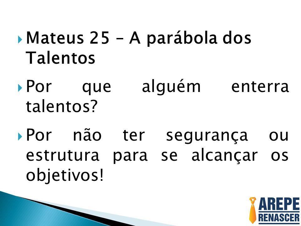  Mateus 25 – A parábola dos Talentos  Por que alguém enterra talentos?  Por não ter segurança ou estrutura para se alcançar os objetivos!