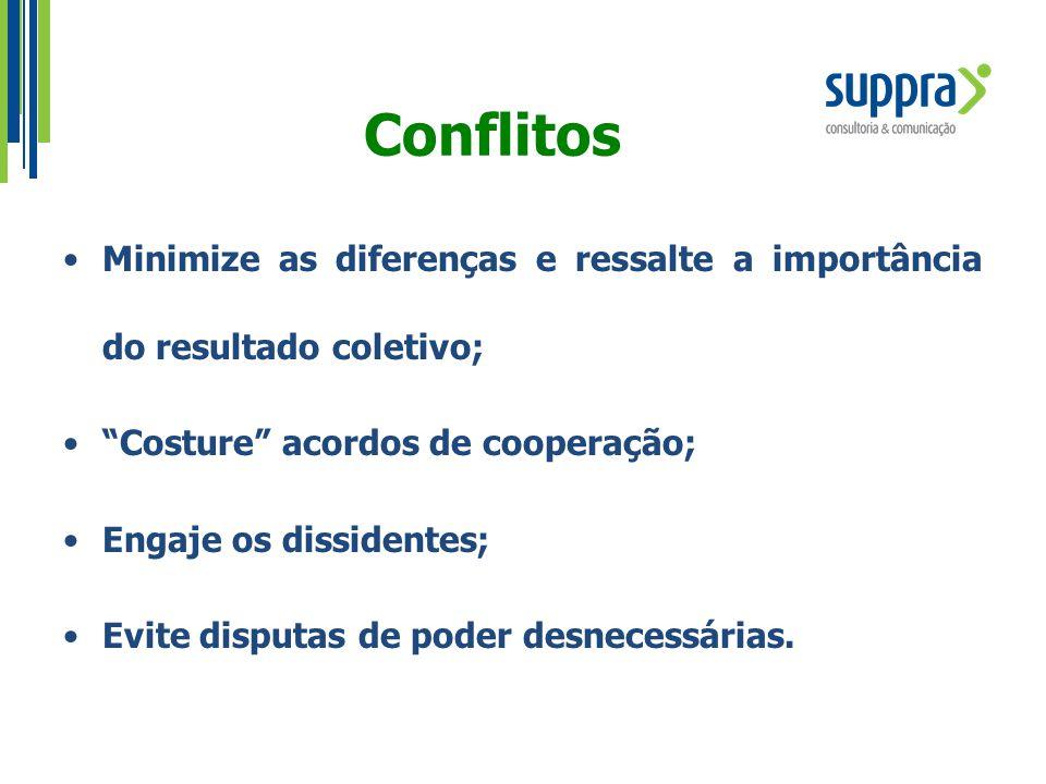 """Conflitos Minimize as diferenças e ressalte a importância do resultado coletivo; """"Costure"""" acordos de cooperação; Engaje os dissidentes; Evite disputa"""