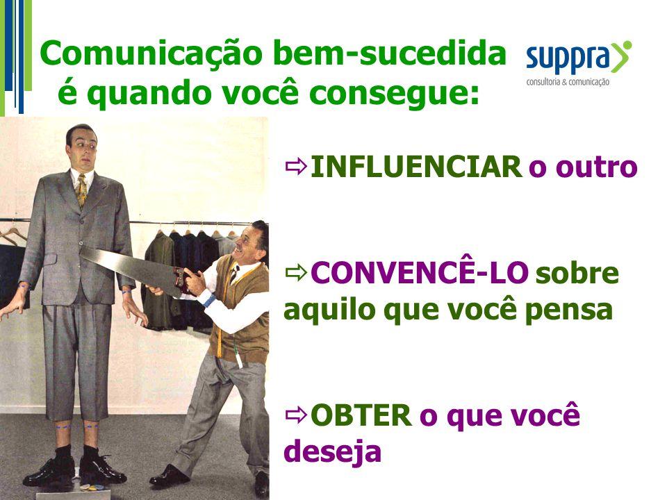 Comunicação bem-sucedida é quando você consegue:  INFLUENCIAR o outro  CONVENCÊ-LO sobre aquilo que você pensa  OBTER o que você deseja