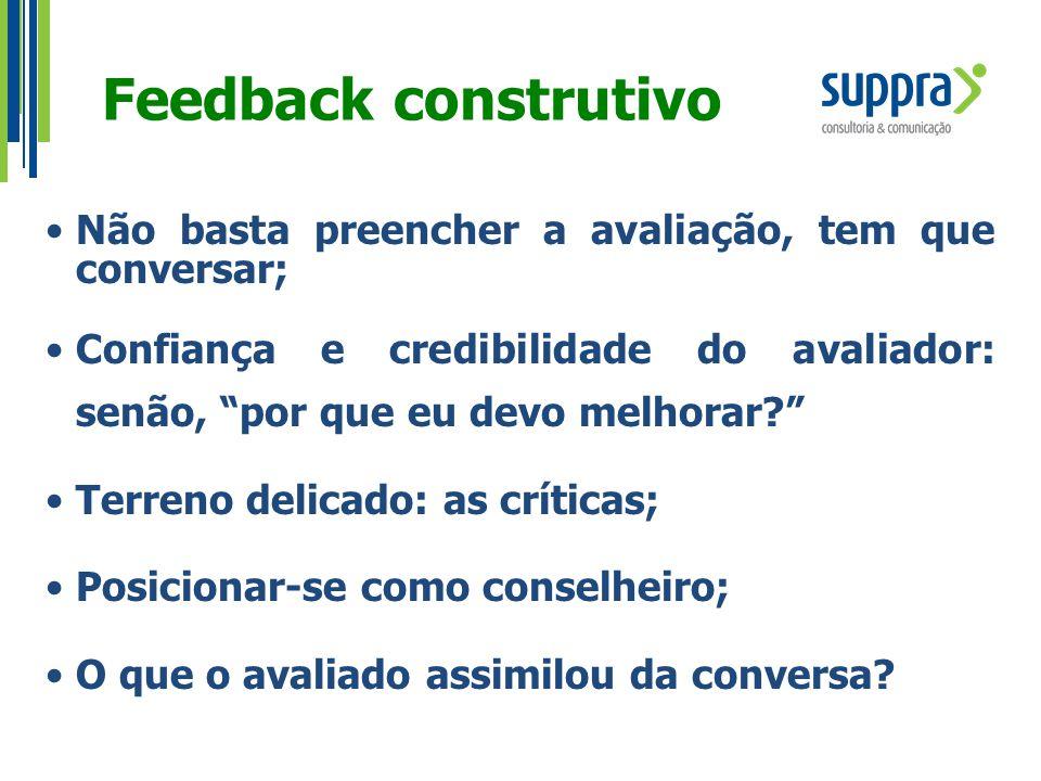 """Feedback construtivo Não basta preencher a avaliação, tem que conversar; Confiança e credibilidade do avaliador: senão, """"por que eu devo melhorar?"""" Te"""