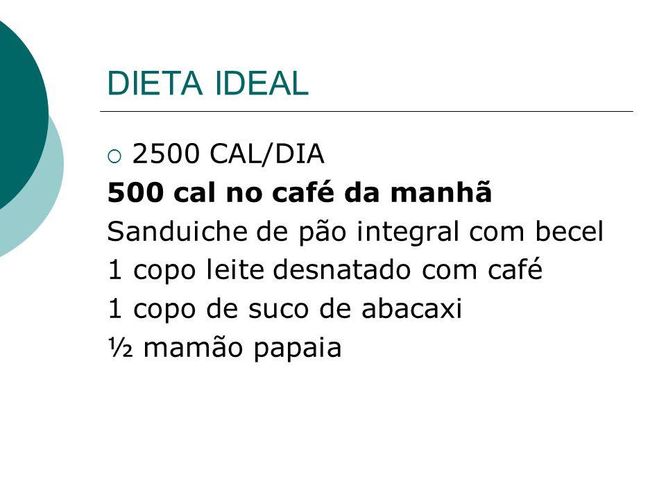 DIETA IDEAL  2500 CAL/DIA 500 cal no café da manhã Sanduiche de pão integral com becel 1 copo leite desnatado com café 1 copo de suco de abacaxi ½ ma