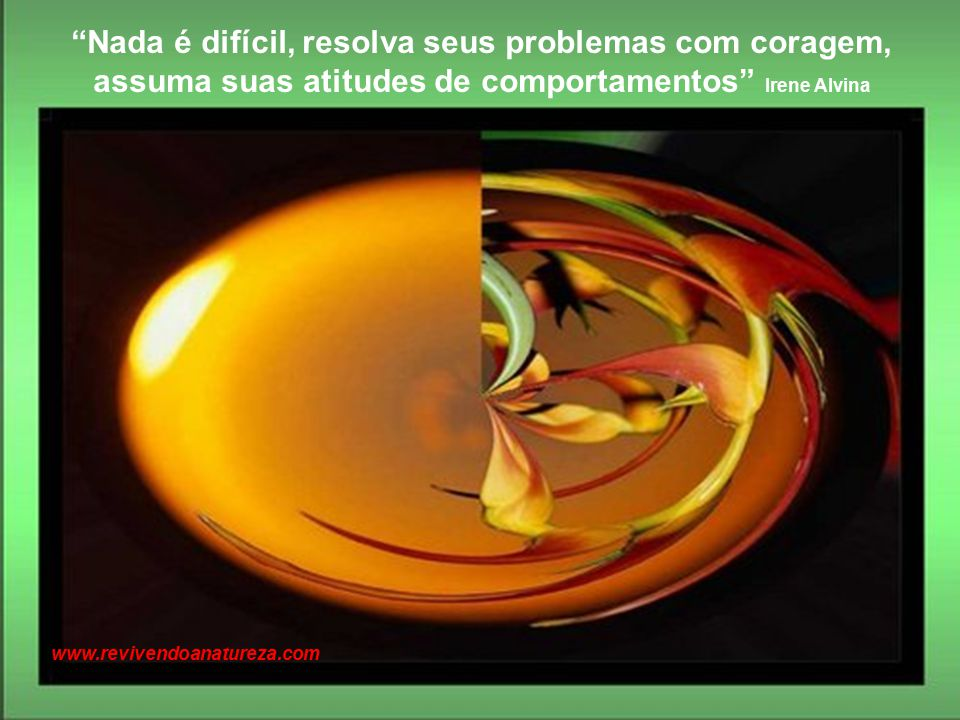 Nada é difícil, resolva seus problemas com coragem, assuma suas atitudes de comportamentos Irene Alvina www.revivendoanatureza.com
