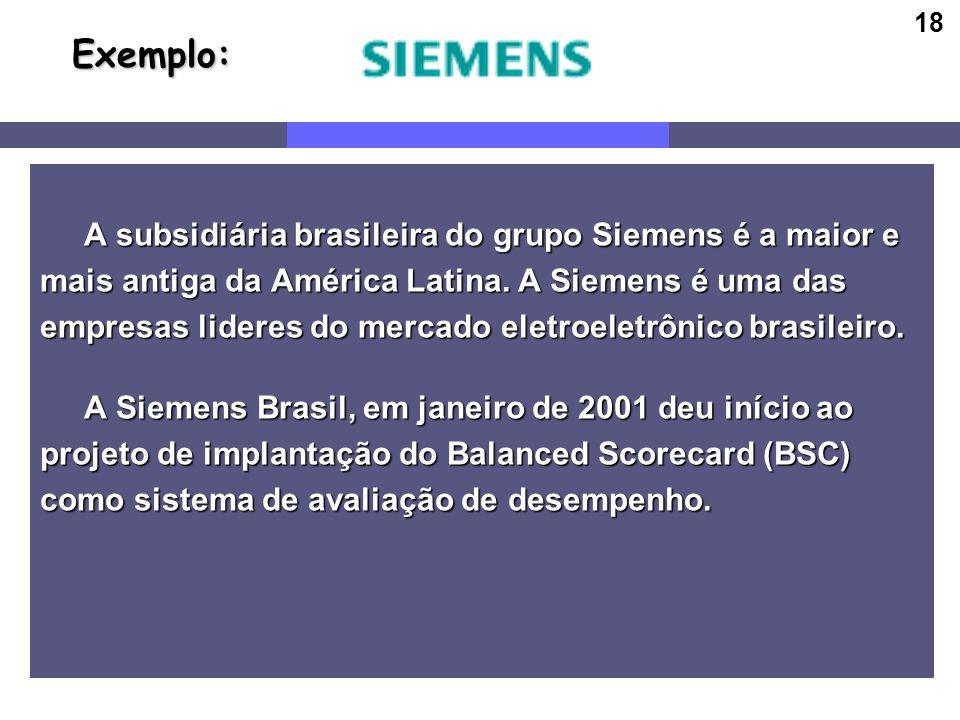 18 Exemplo: Exemplo: A subsidiária brasileira do grupo Siemens é a maior e A subsidiária brasileira do grupo Siemens é a maior e mais antiga da Améric