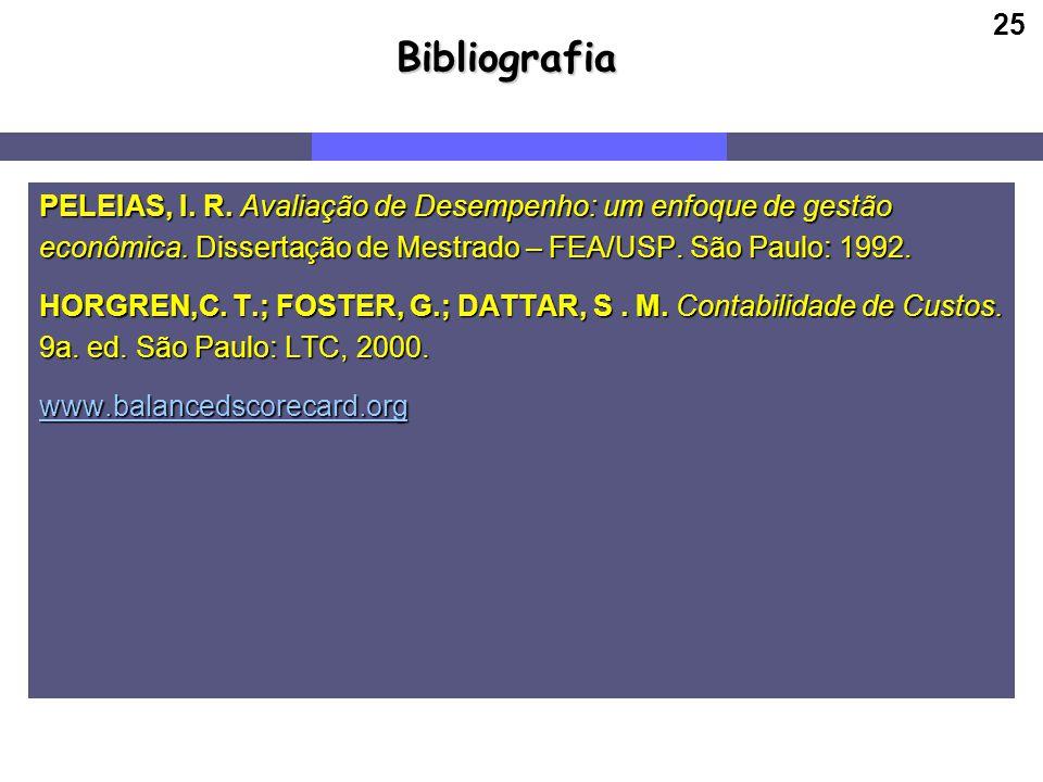 25Bibliografia PELEIAS, I. R. Avaliação de Desempenho: um enfoque de gestão econômica. Dissertação de Mestrado – FEA/USP. São Paulo: 1992. HORGREN,C.