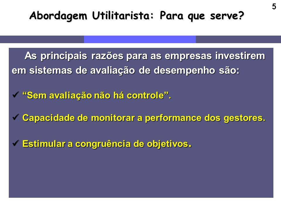 5 Abordagem Utilitarista: Para que serve? As principais razões para as empresas investirem As principais razões para as empresas investirem em sistema