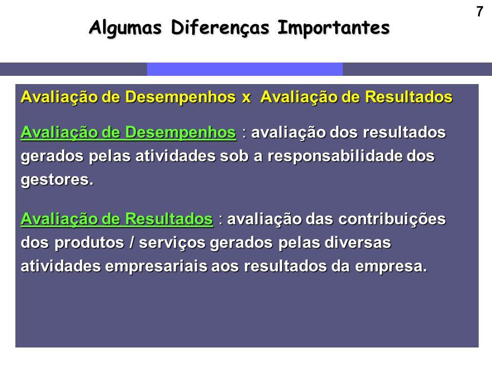 7 Algumas Diferenças Importantes Avaliação de Desempenhos x Avaliação de Resultados Avaliação de Desempenhos : avaliação dos resultados gerados pelas