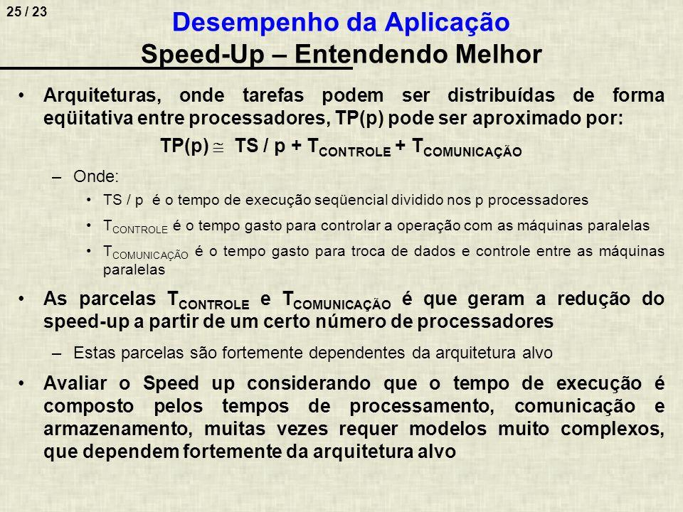 26 / 23 Implementar um modelo aproximado para estimar o speed-up, considerando as arquiteturas seqüencial e paralela apresentadas abaixo Desempenho da Aplicação Speed-Up – Exemplo de Modelo TS = n  L + C + P + c + N  E Onde: –n é o número de dados lidos –L é o tempo de leitura de um dado –C é o tempo de comunicação para leitura (o caminho de leitura não é necessariamente o caminho de escrita) –P é o tempo de processamento em um processador –c é o tempo de comunicação para escrita –N é o número de dados para escrever –E é o tempo de escrita de um dado